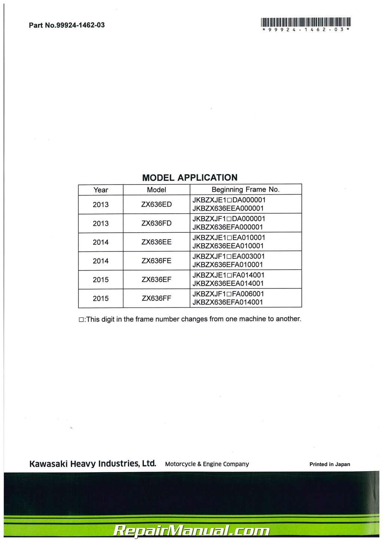2013 – 2017 Kawasaki ZX636E/F Ninja 600 ZX-6R / ABS Motorcycle Service  Manual