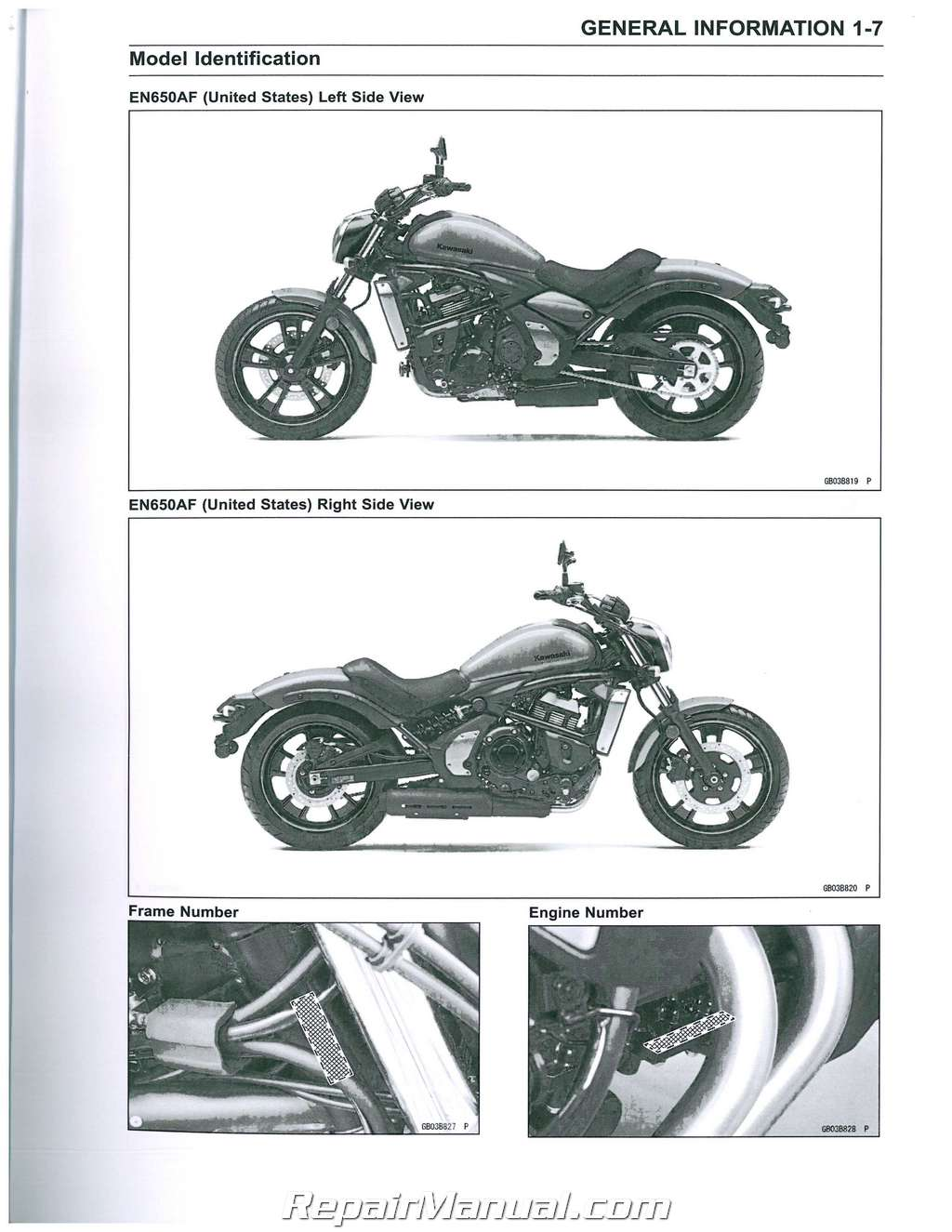 2015 kawasaki en650 vulcan s / abs motorcycle service manual