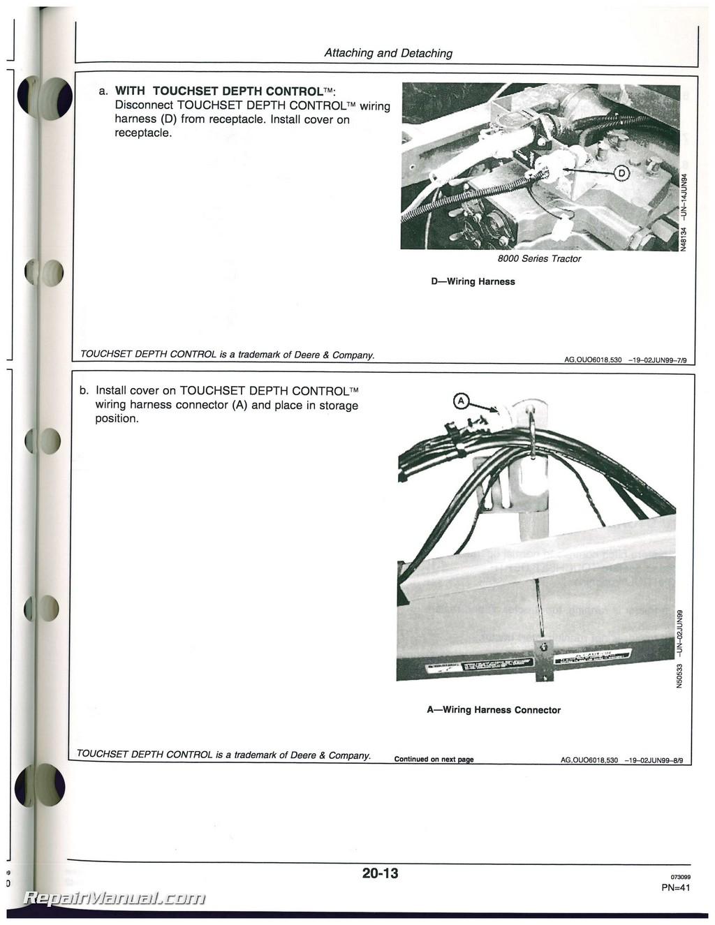 Used John Deere 512 Disk Ripper Operators Manual Wiring Harness Connectors