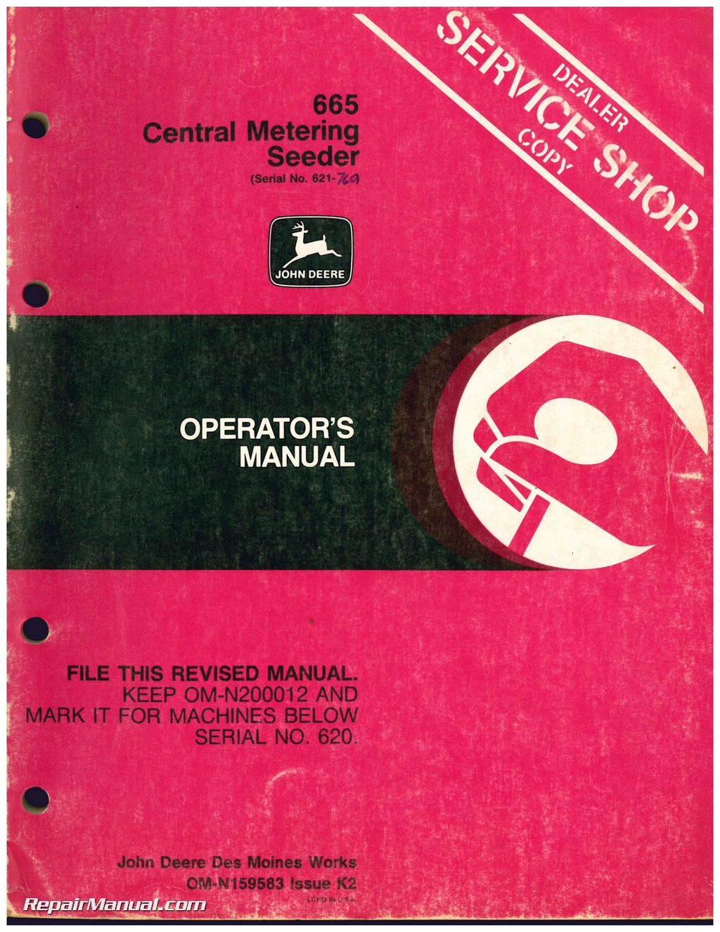 Used John Deere 665 Central Metering Seeder Operators Manual