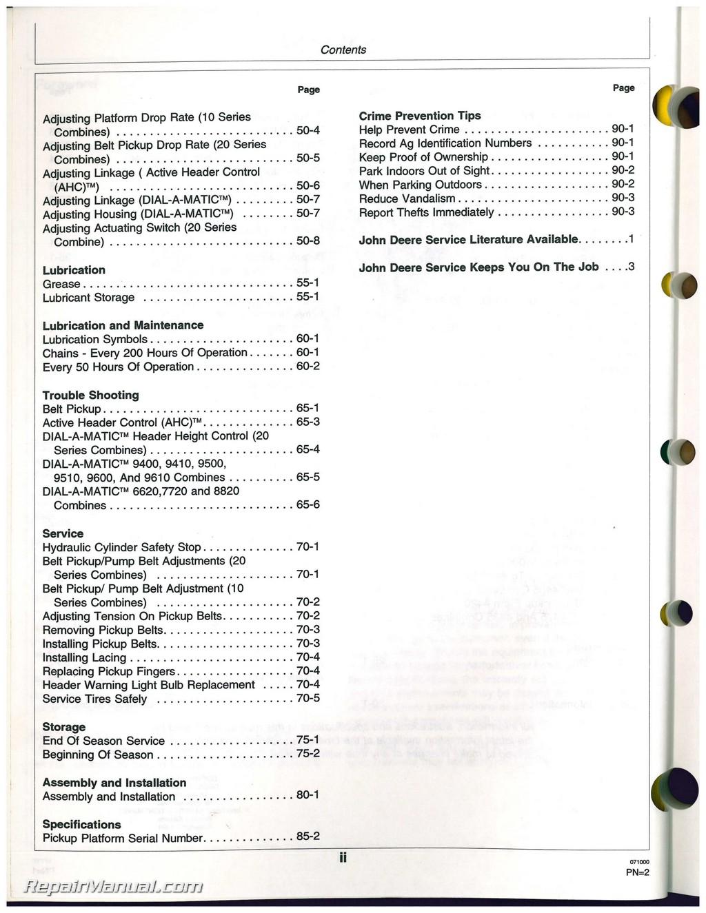 john deere 110 operators manual