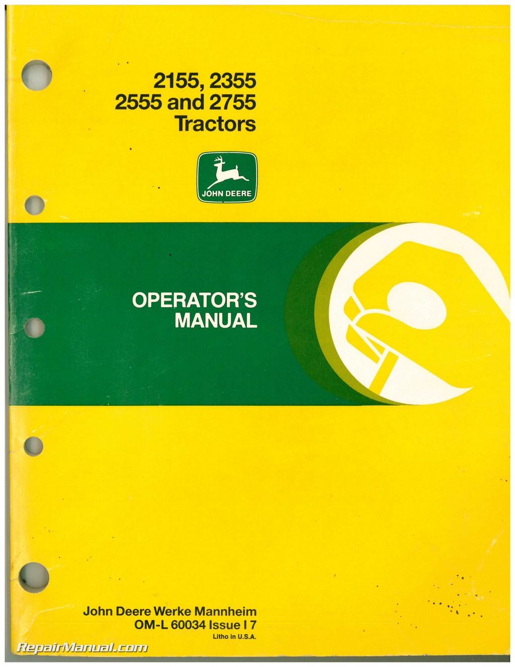 John Deere 2555 Operator Manual 2355 Wiring Diagram 2155 And 2755 Tractors Operators Rh Repairmanual Com Lawn Tractor Manuals Service