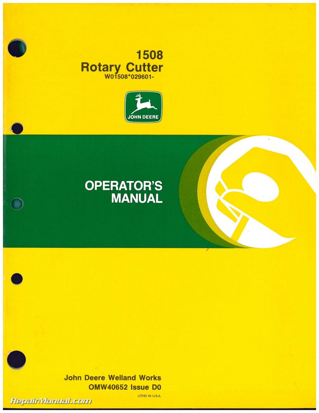 Used John Deere 1508 Rotary Cutter Operators Manual