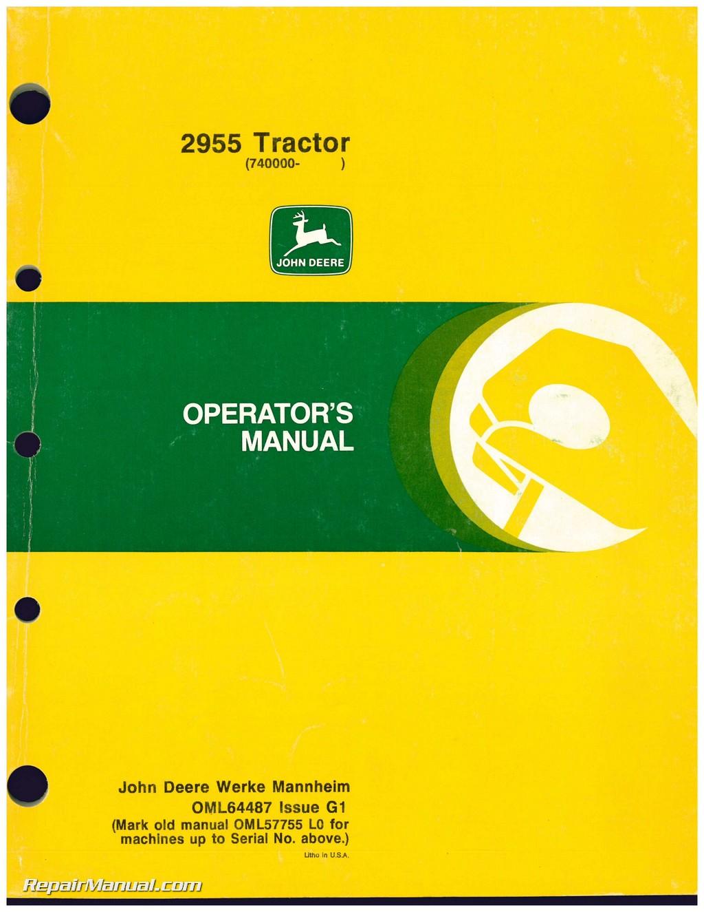 Used John Deere 2955 Tractor Operators Manual