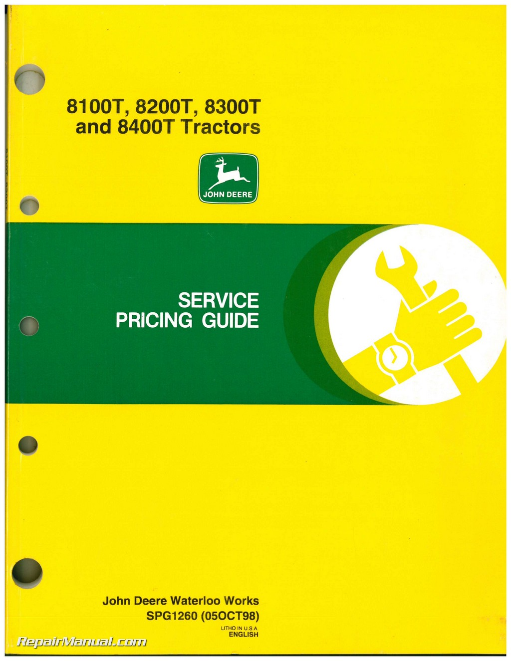 John Deere 8100T, 8200T, 8300T and 8400T Tractors Service Pricing Guide ...