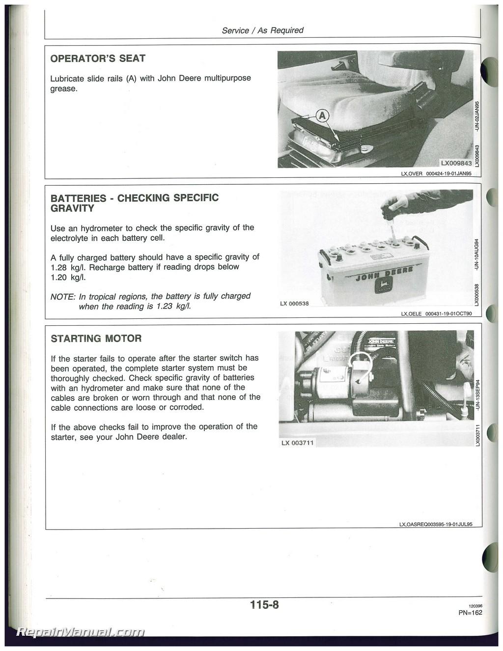 used john deere 6200 6200l 6300 6300l 6400 6400l and 6500l rh repairmanual com john deere 115 manual pdf john deere la115 manual pdf