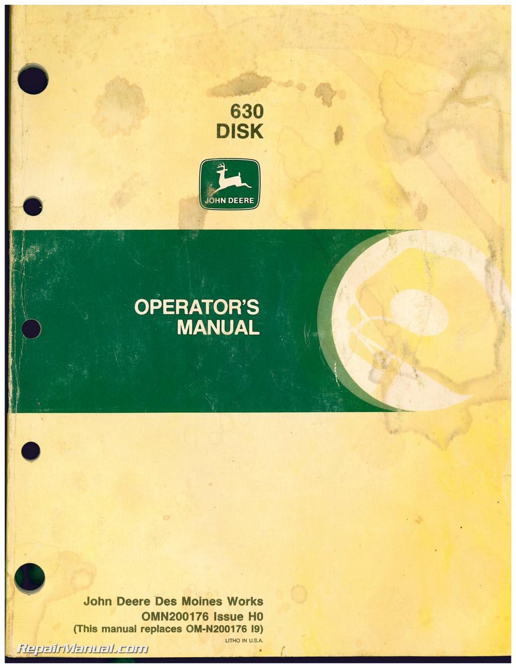used john deere 630 disk operators manual rh repairmanual com John Deere Offset Harrow Old John Deere Harrows