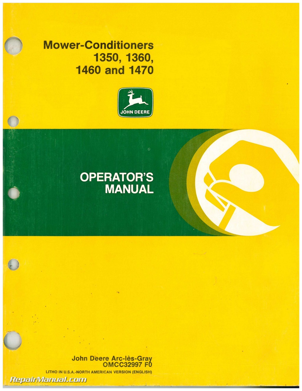 john deere 1350 1360 1460 1470 mower conditioner operators manual rh repairmanual com service manual john deere 70 service manual john deere p218g