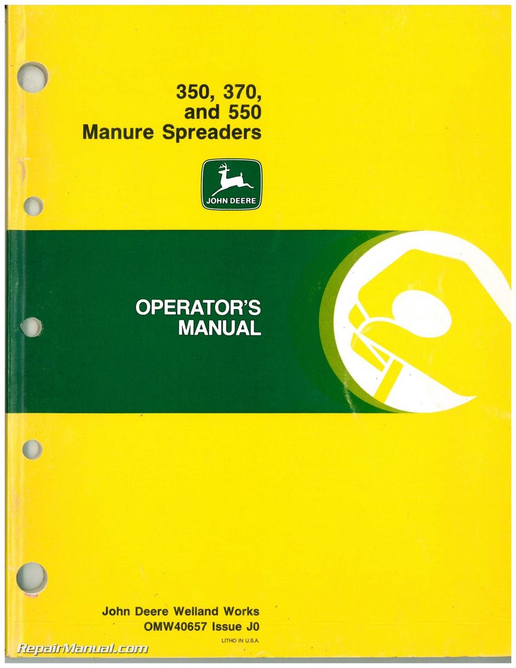 Used John Deere 350, 370, and 550 Manure Spreaders Operators Manual