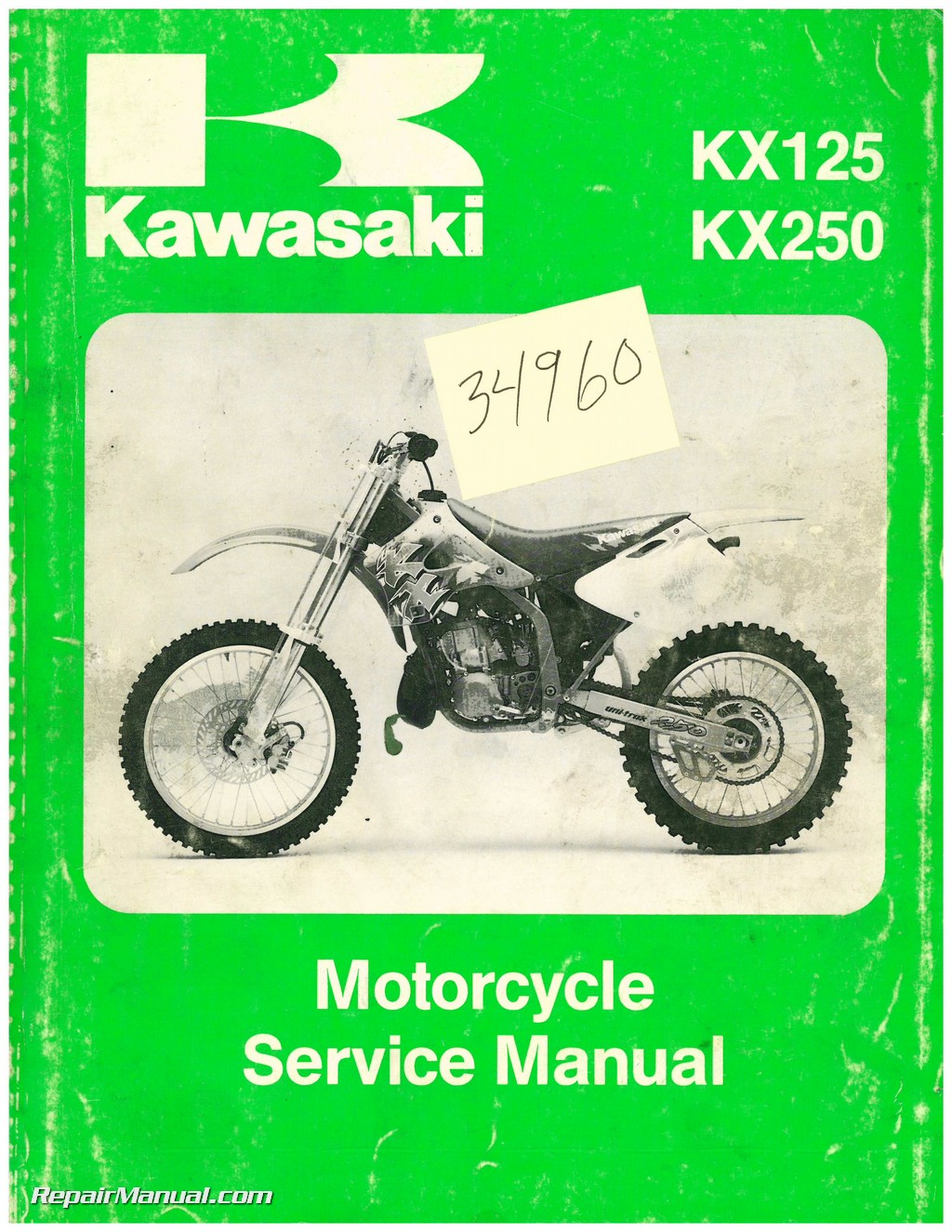 Used 1994 Kawasaki Kx125 Kx250 Service Manual