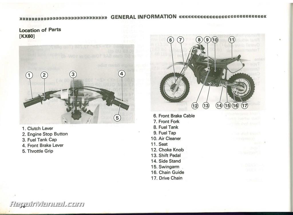 Used 1998 Kawasaki Kx60 Kx80 Kx100 Owners Manual