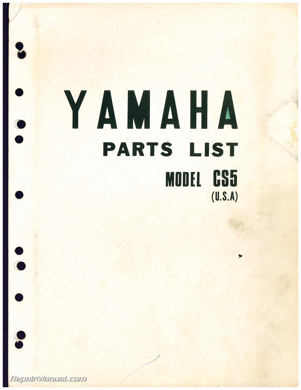 Used 1972 Yamaha CS5 (200cc) Motorcycle Parts Manual