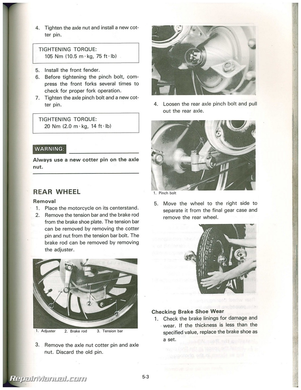 1983 Yamaha Xv500k Virago Motorcycle Service Manual