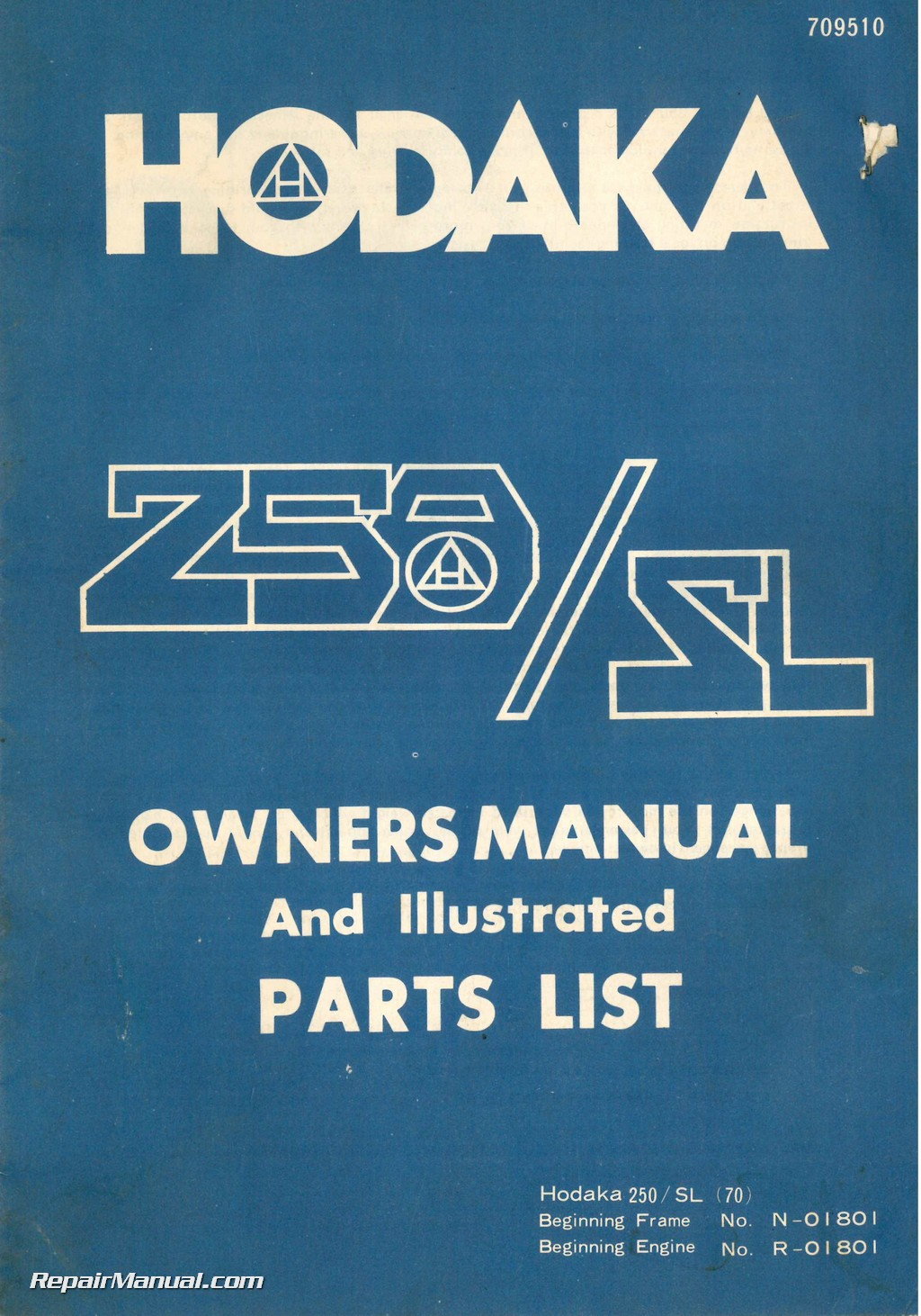1976 Hodaka 250    Sl  70  Motorcycle Owners Manual And Spare Parts Manual