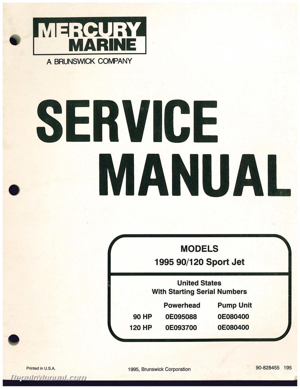 used 1995 mercury 90 120 sport jet engine service manual rh repairmanual com mercury sport jet 175 repair manual mercury 120 sport jet repair manual