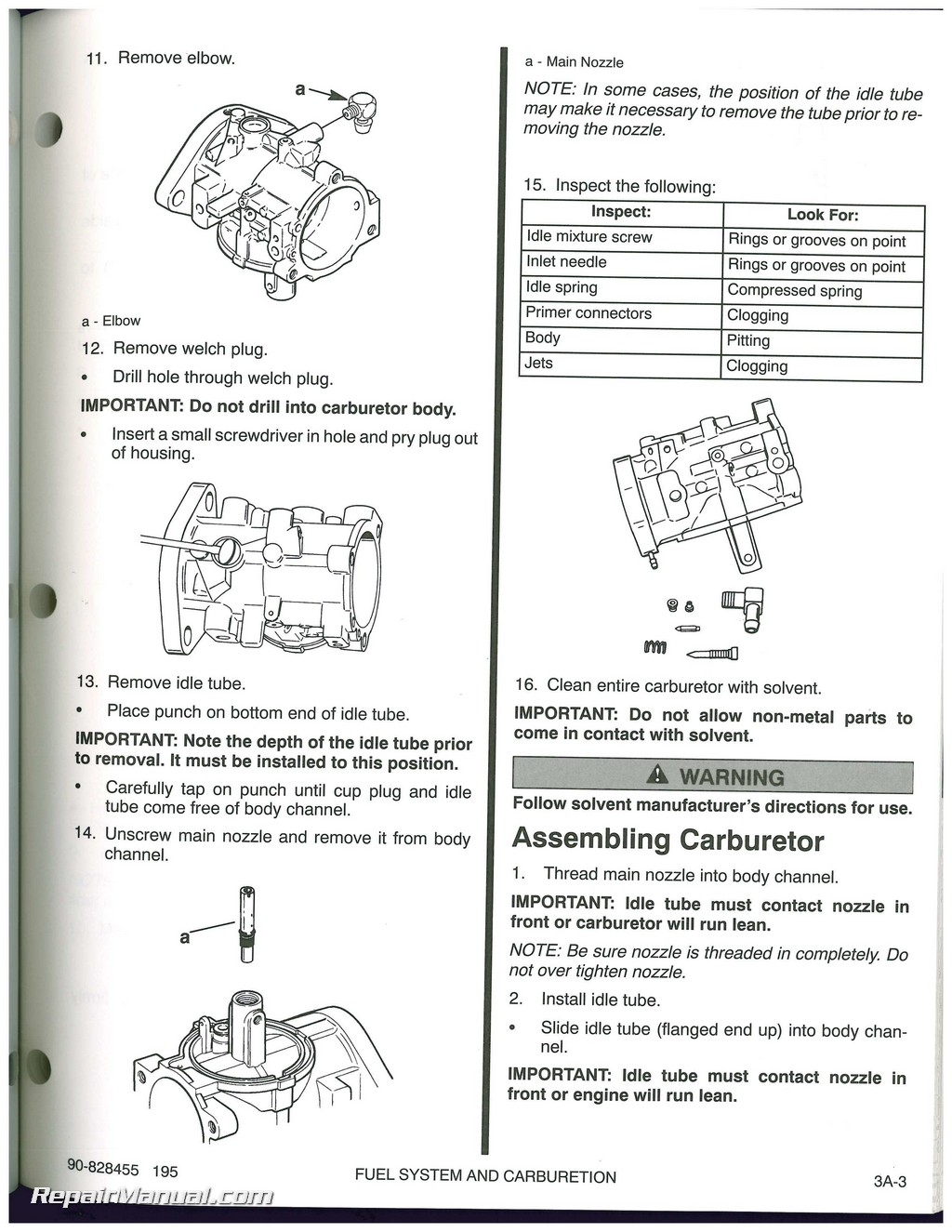 Used 1995 Mercury 90/120 Sport Jet Engine Service Manual