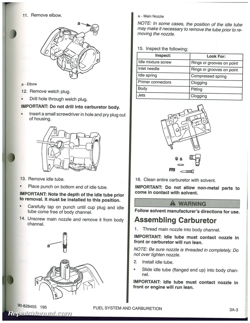 Used 1995 Mercury 90  120 Sport Jet Engine Service Manual