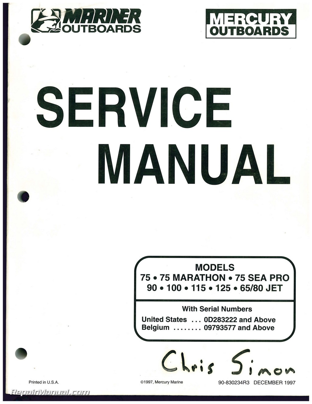 Used Mariner Mercury Outboard Engine 75 MARATHON, 75 SEA PRO 90, 100, 115,  125, 65/80 JET Service Manual