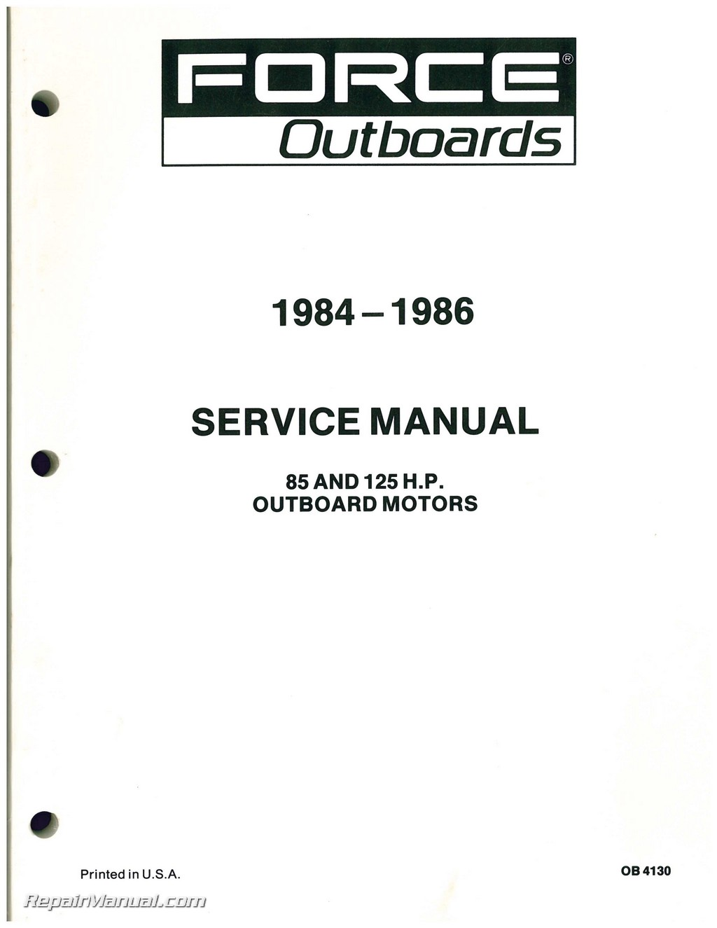 1984 1985 1986 force outboard engine 85hp 125hp service manual for 125 hp force outboard motor for sale