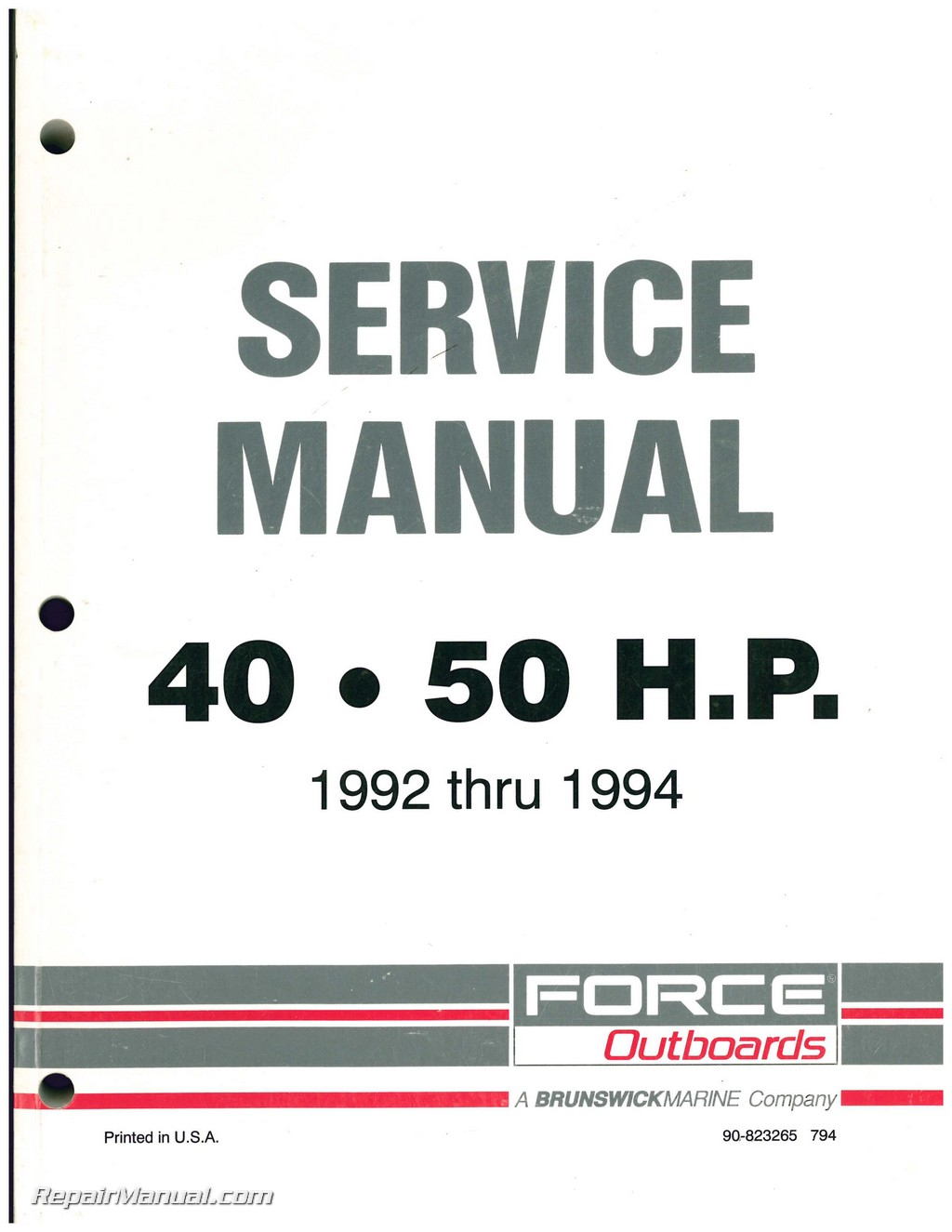 Force 40 Hp Outboard Schematic Electrical Wiring Diagram Ignition 1992 1993 1994 Engine 40hp 50hp Service Manual Rh Repairmanual Com 1996