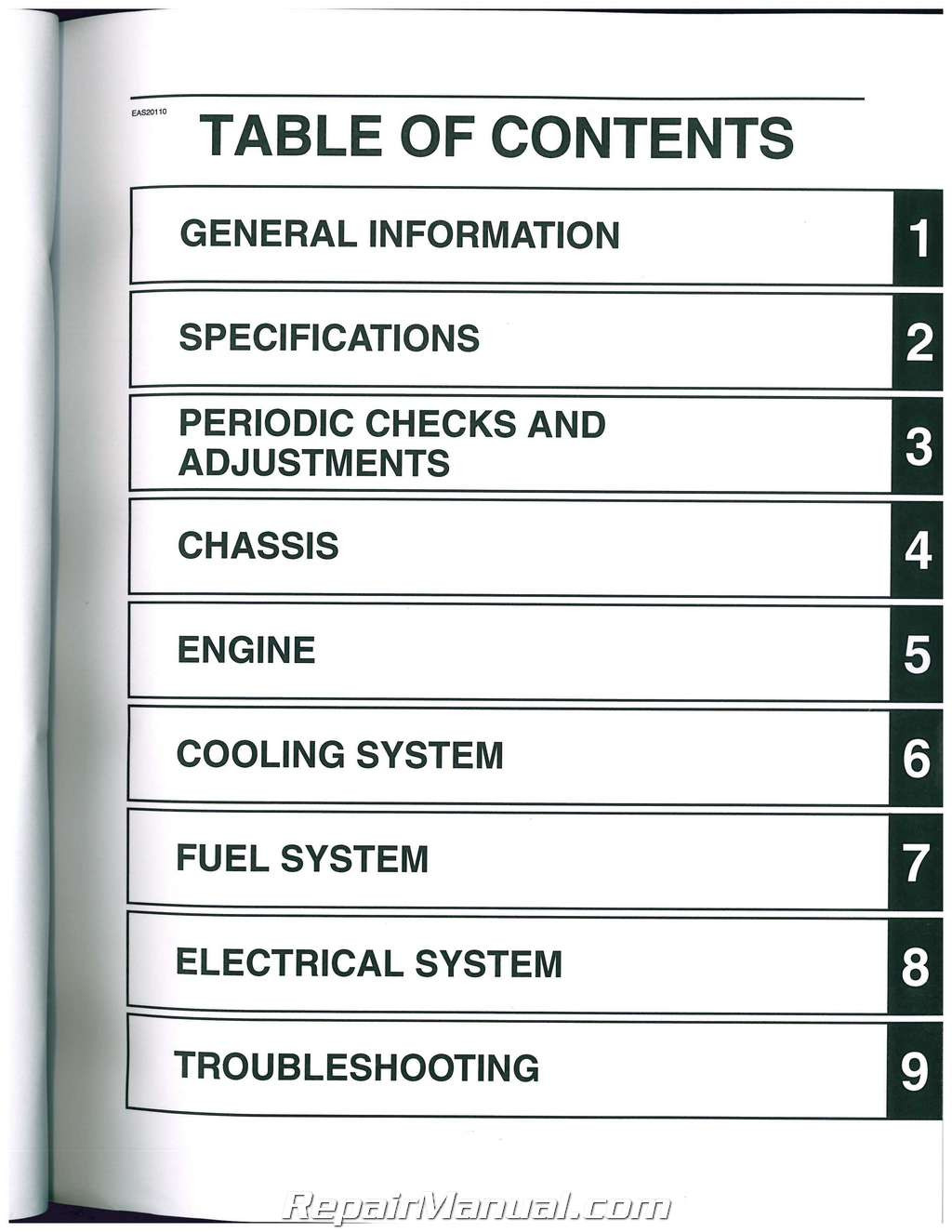 2009-2012 yamaha fjr1300 motorcycle service manual.