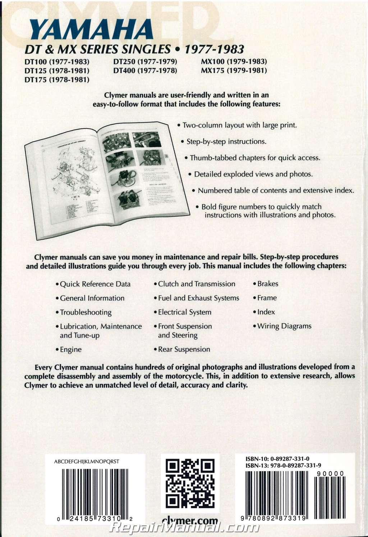 1977 – 1983 Yamaha DT 100 125 175 250 400 MX100 175 Clymer Motorcycle  Repair Manual