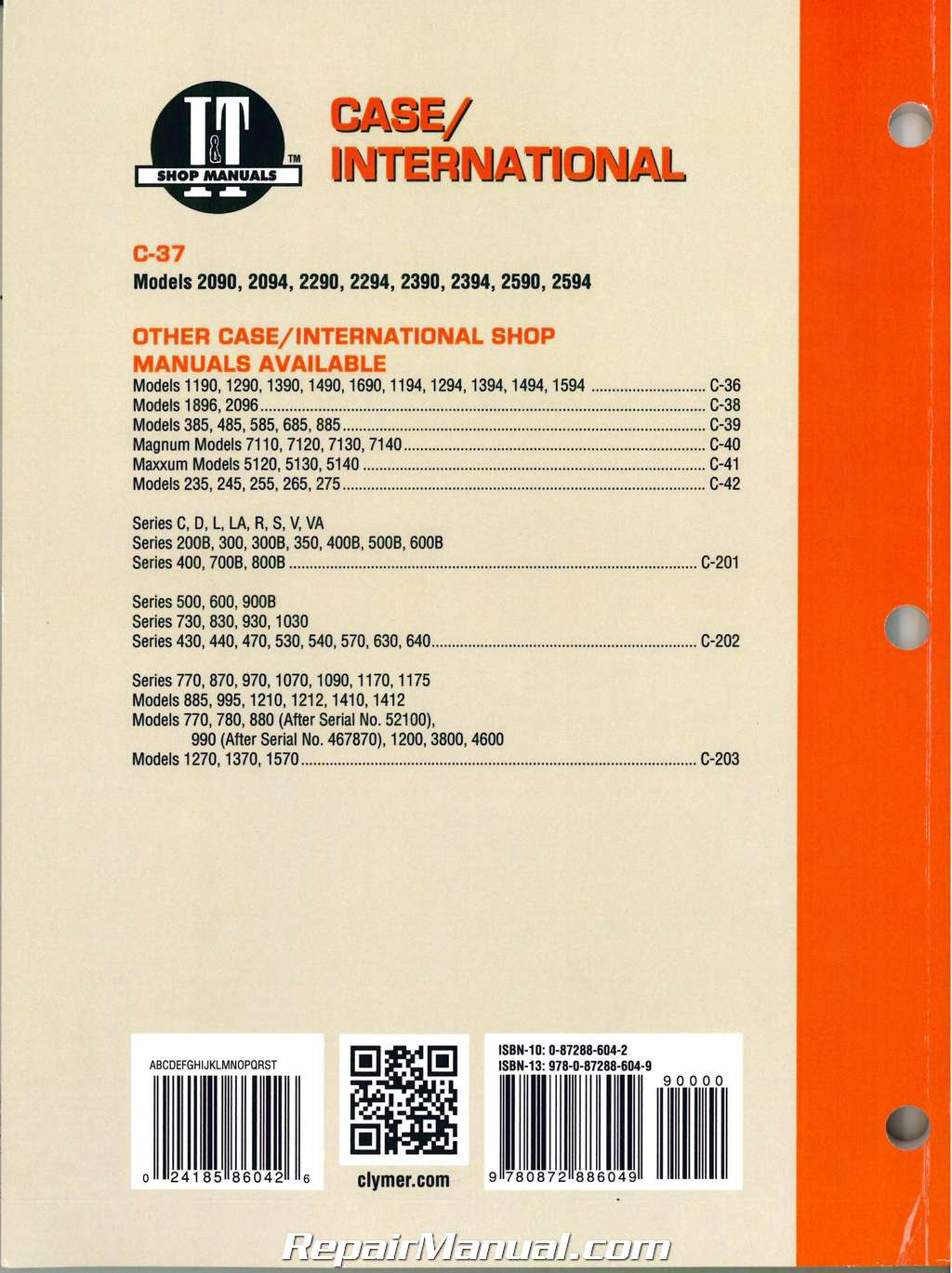 Case International 2090 2094 2290 2294 2390 2394 2590 2594 Tractor Repair Manual