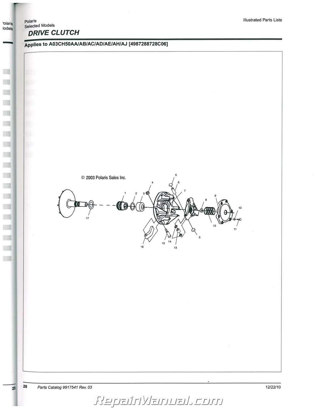 2003 Polaris Sportsman 500 Ho Parts Manual