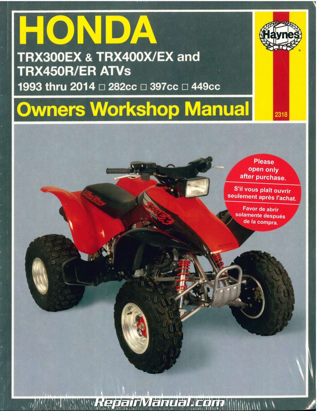 honda trx300ex trx400ex 1993 2014 atv haynes repair manual workshop manual honda civic type s workshop manual honda cbf 250