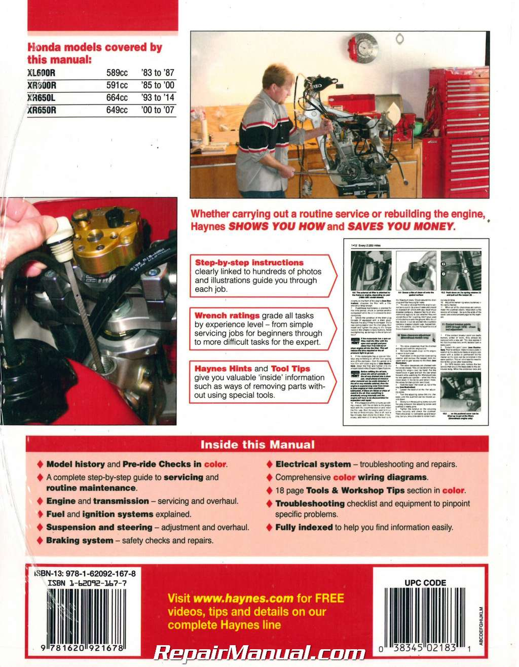 Honda Xl Xr600r Xr650l R 1983 2014 Haynes Motorcycle Repair Manual Diagrams H21831 Doc01054320151020131248 004