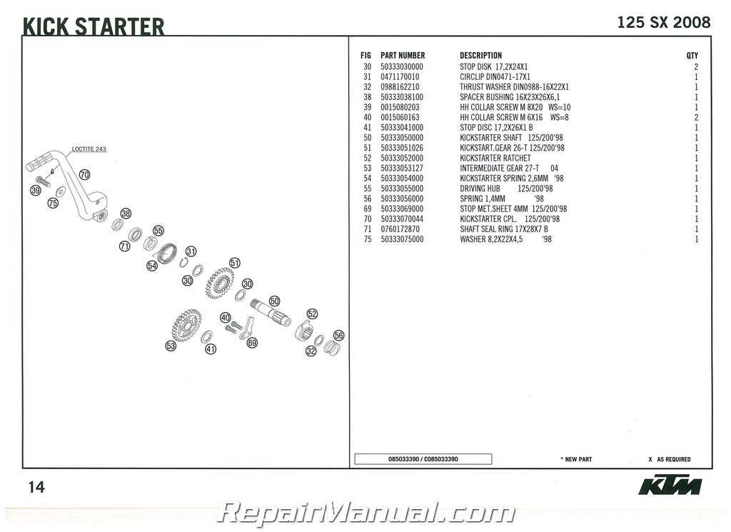 2008 ktm 125 sx engine spare parts manual