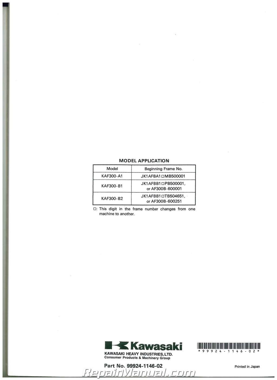 1990  U2013 2004 Kawasaki Kaf300a Mule 500 520 550 Utv Service Manual