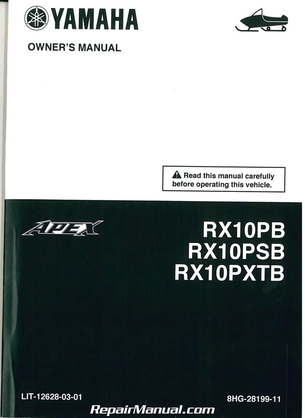 Details about 2012 Yamaha Apex RX10P Snowmobile Owners Manual :  LIT-12628-03-01