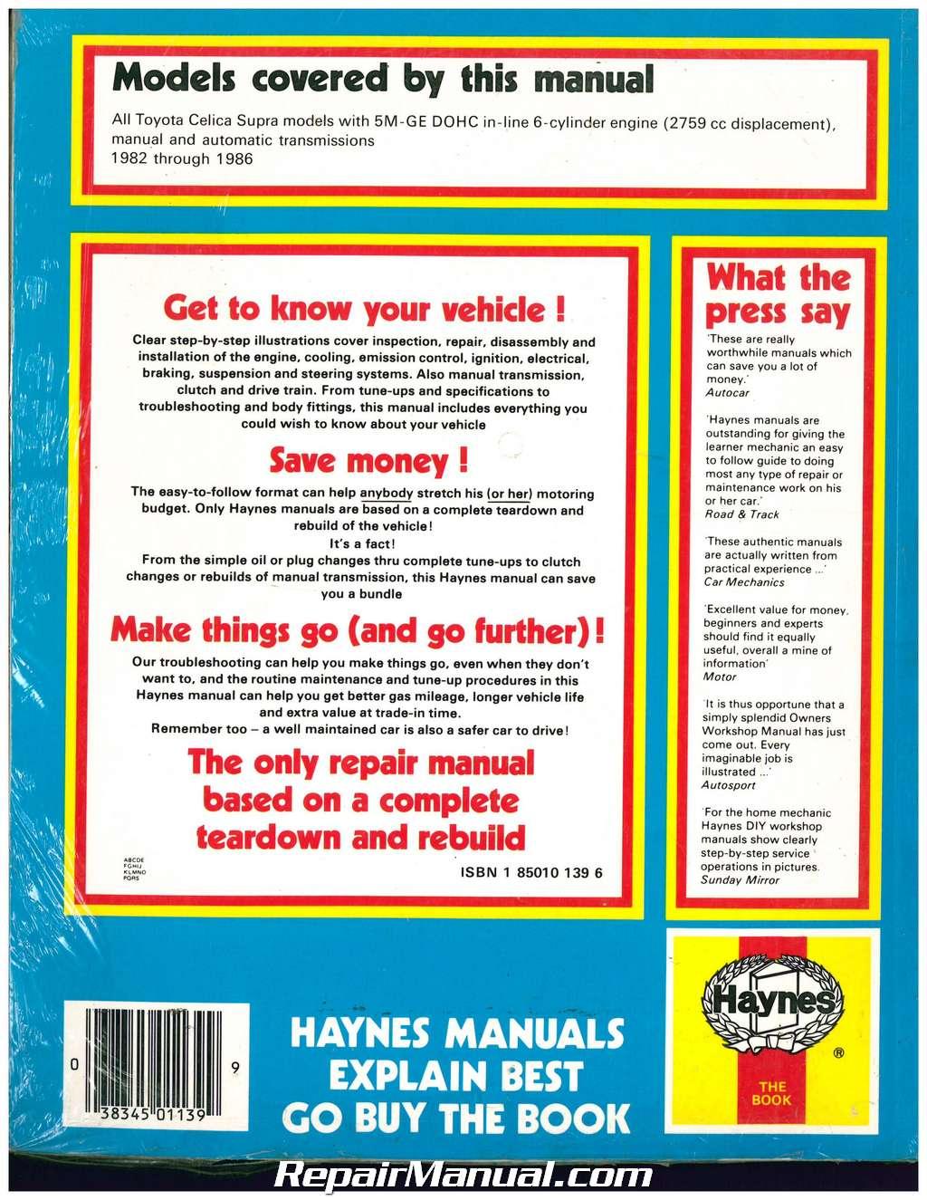 Haynes Toyota Celica Supra 1982 1986 Auto Repair Manual Wiring Diagram 1984