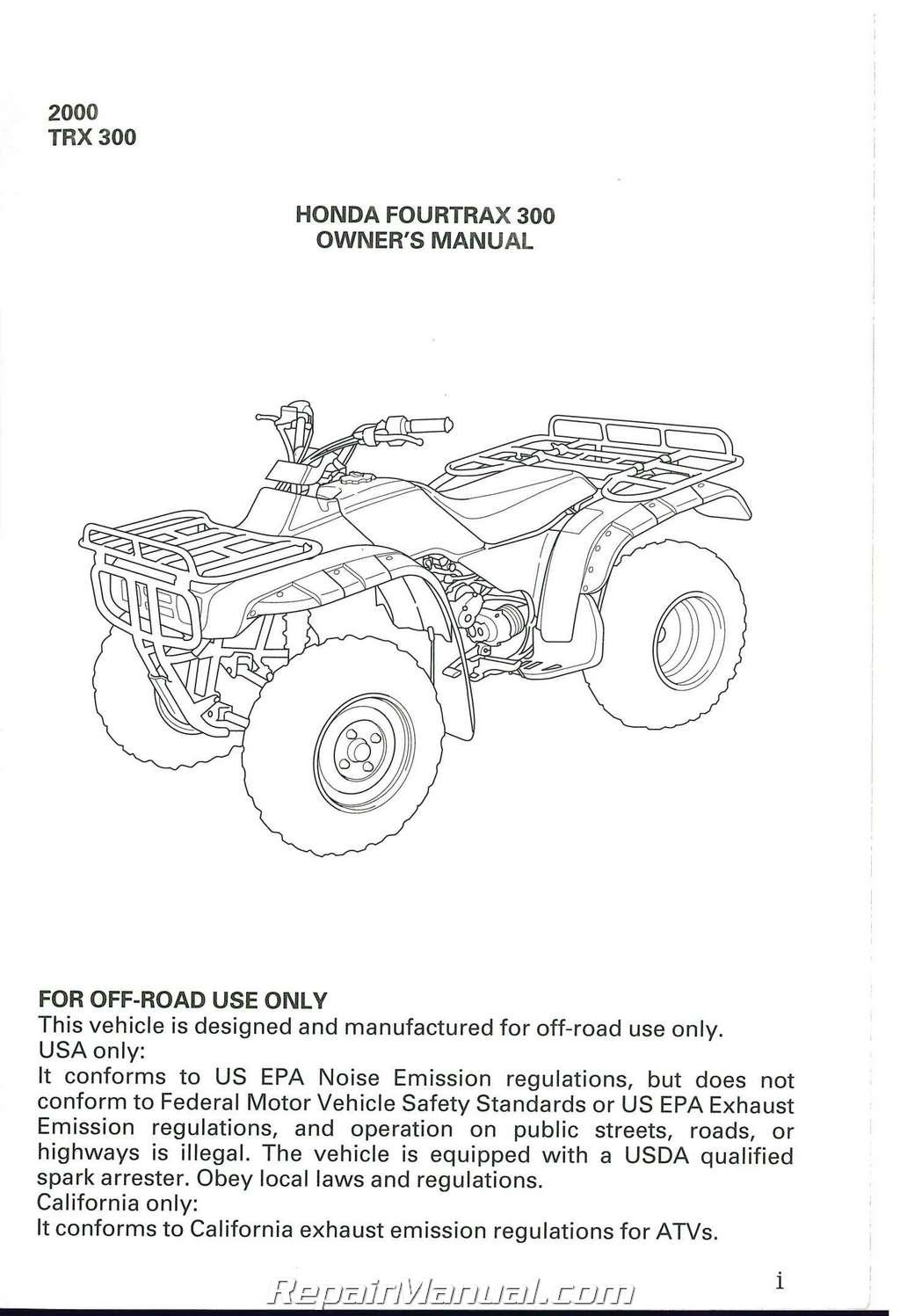 1996 Honda 300 Fourtrax Atv Diagrams Manual Guide
