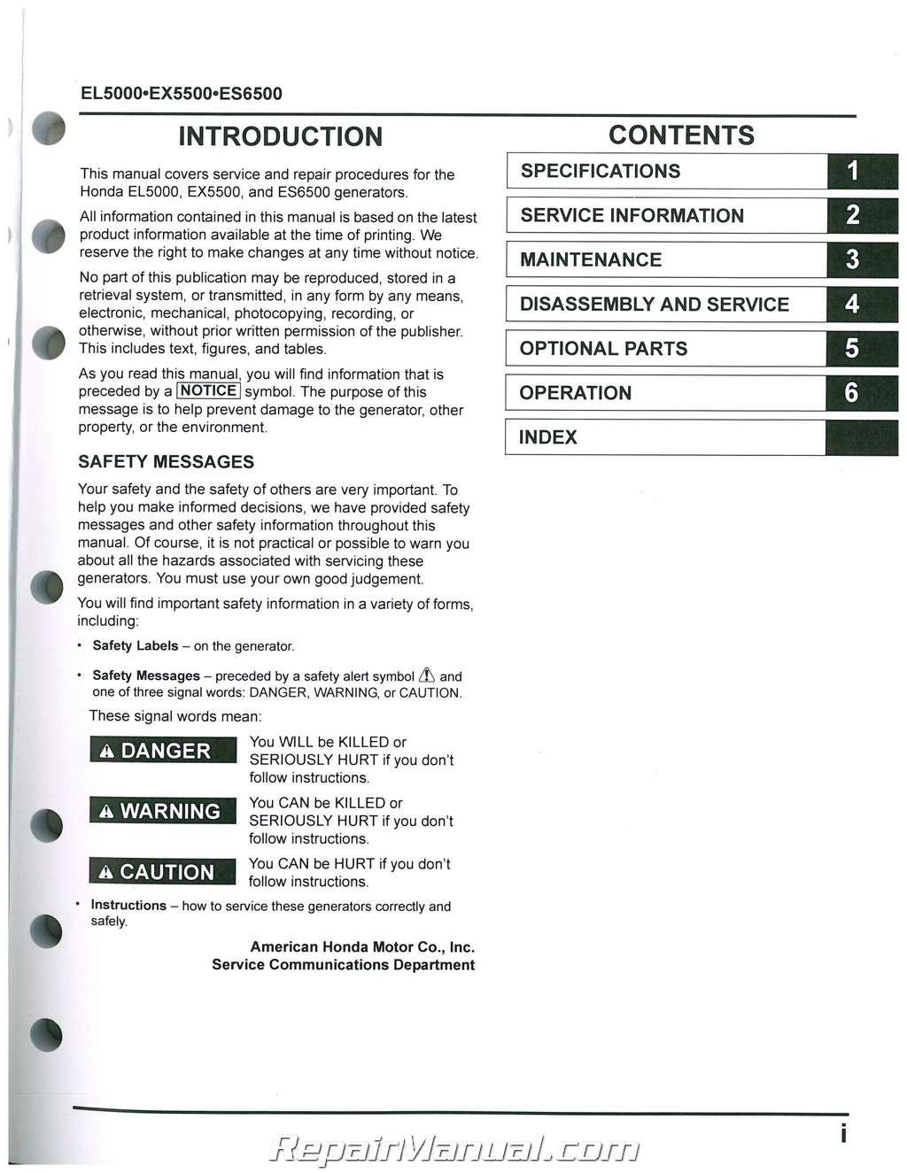 honda el5000 es6500 ex5500 generator shop manual rh repairmanual com honda generator es6500 owner's manual honda es6500 generator service manual