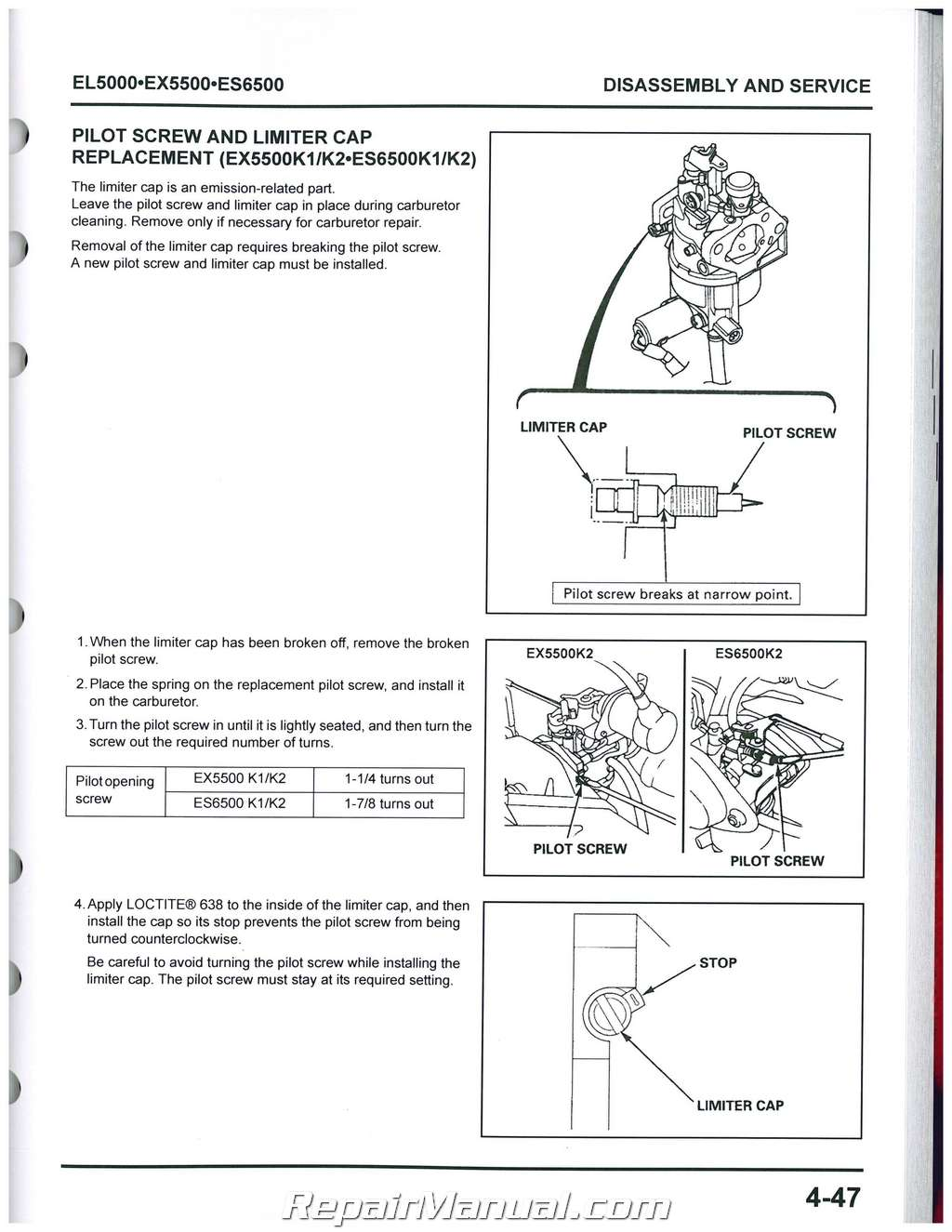 Honda el5000 es6500 ex5500 generator shop manual swarovskicordoba