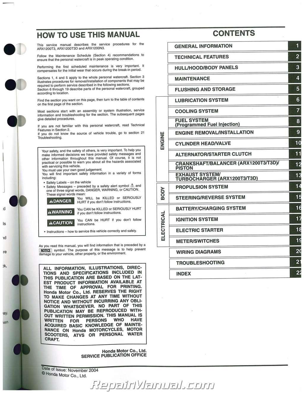 2004 2007 honda arx1200 aquatrax n3 t3 t3d owners service manual rh repairmanual com 2012 Honda Aquatrax 2003 Aquatrax