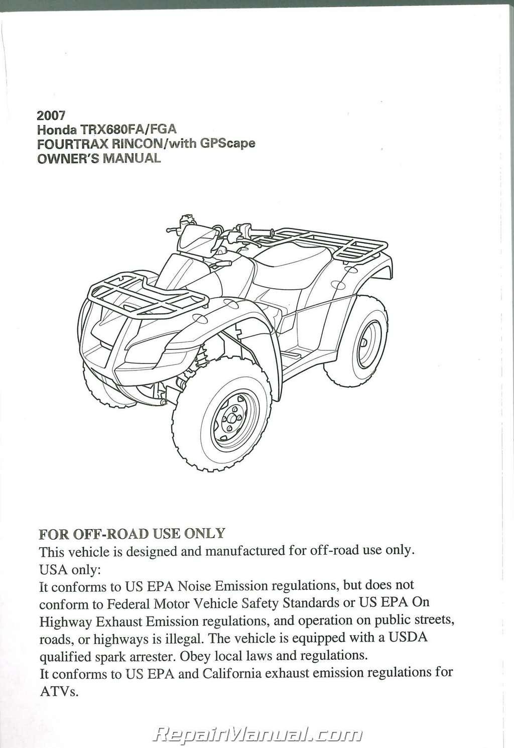 2007 Honda Trx680fa Fga Fourtrax Rincon Atv Owners Manual