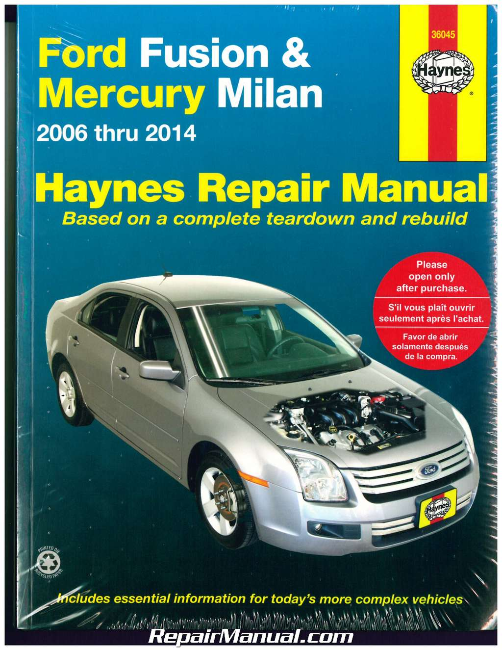 haynes ford fusion 2006-2014 mercury milan 2006-2011 auto repair manual