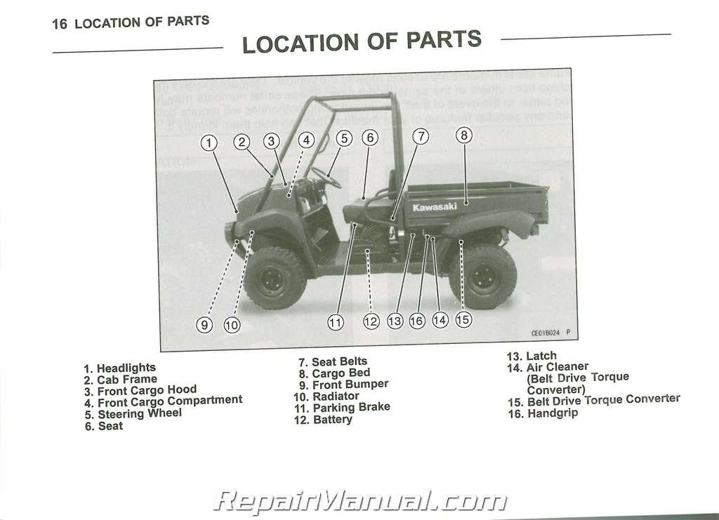 2011 Kawasaki Kaf620m Mule 4010 4 U00d74 Owners Manual