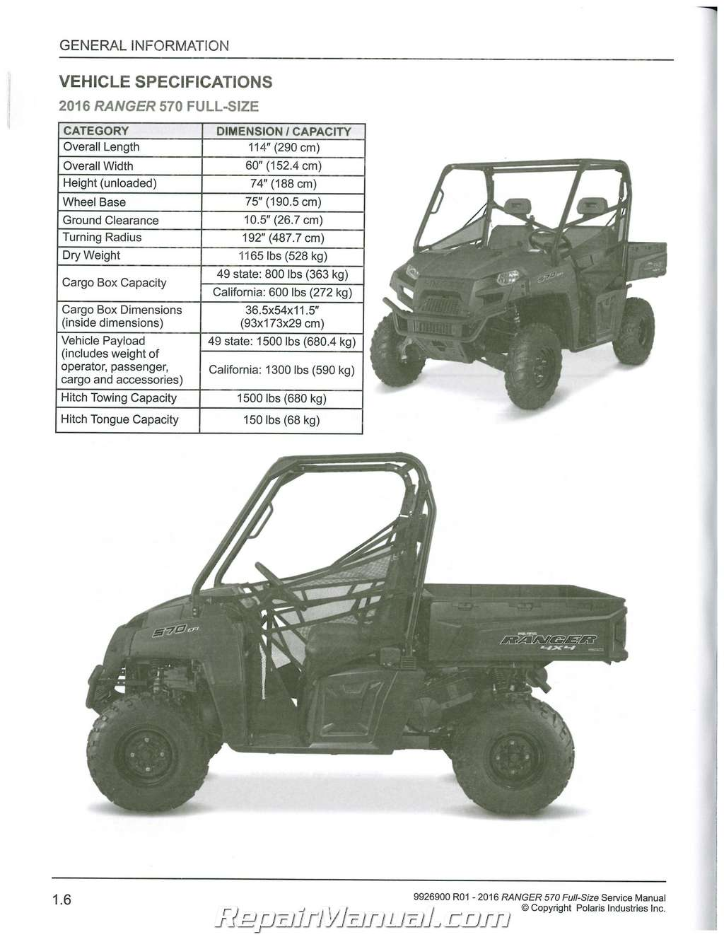 2016 Polaris Ranger 570 Atv Service Manual