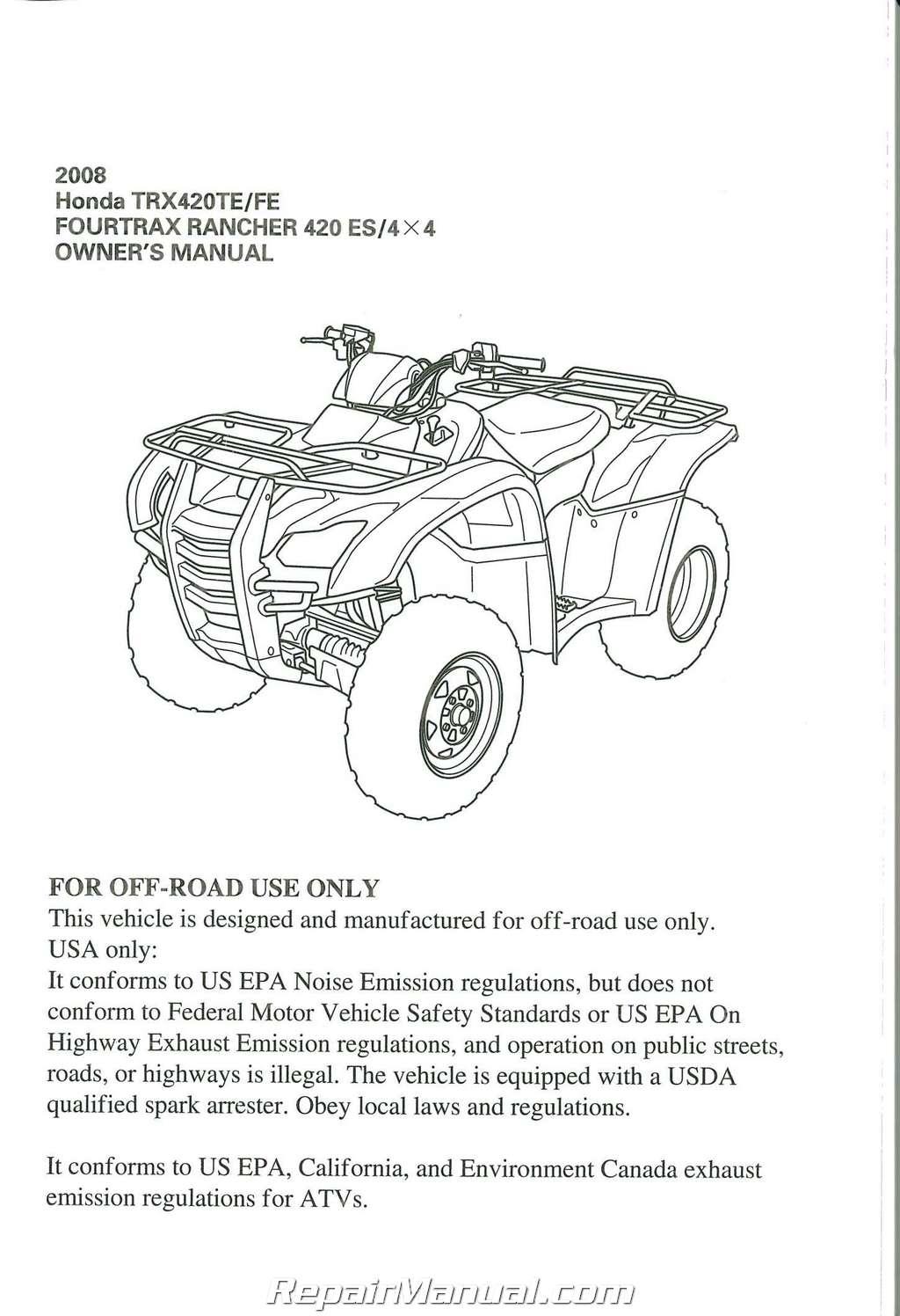2008 Honda Trx420te Fe Fourtrax Rancher 420es 4x4 Atv