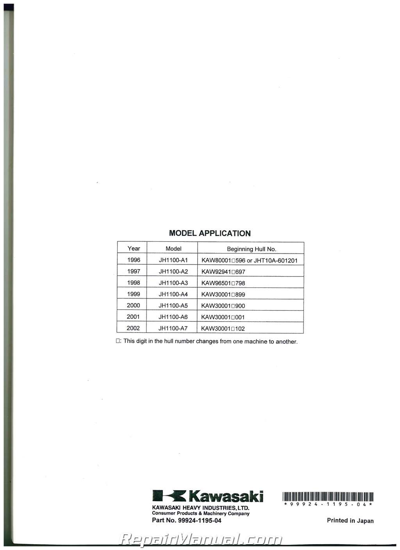 1996 2002 kawasaki 1100 zxi 1999 1100 stx jet ski factory service manual rh  repairmanual com Kawasaki 1100 ZXI 1998 Kawasaki 1100 ZXI