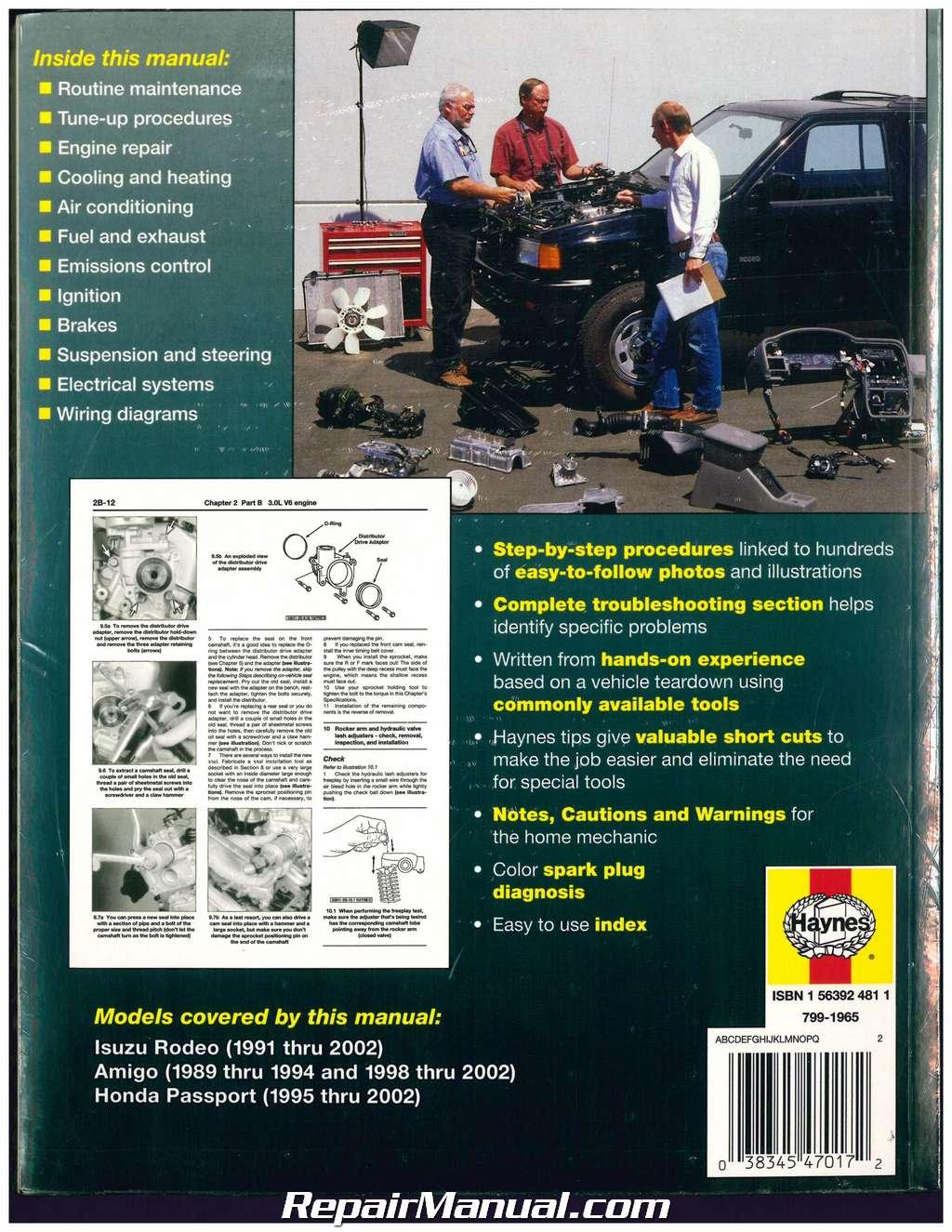 Isuzu Rodeo Amigo Honda Passport 1989-2002 Haynes Automotive Repair Manual