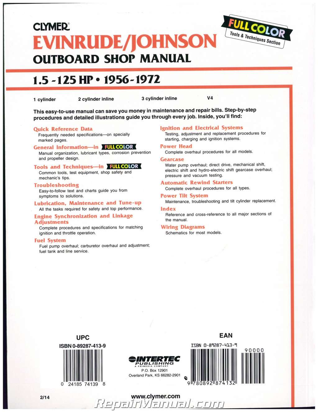 Clymer Evinrude-Johnson 1.5-125 hp 1956-1972 Outboard Boat Engine Service  Manual