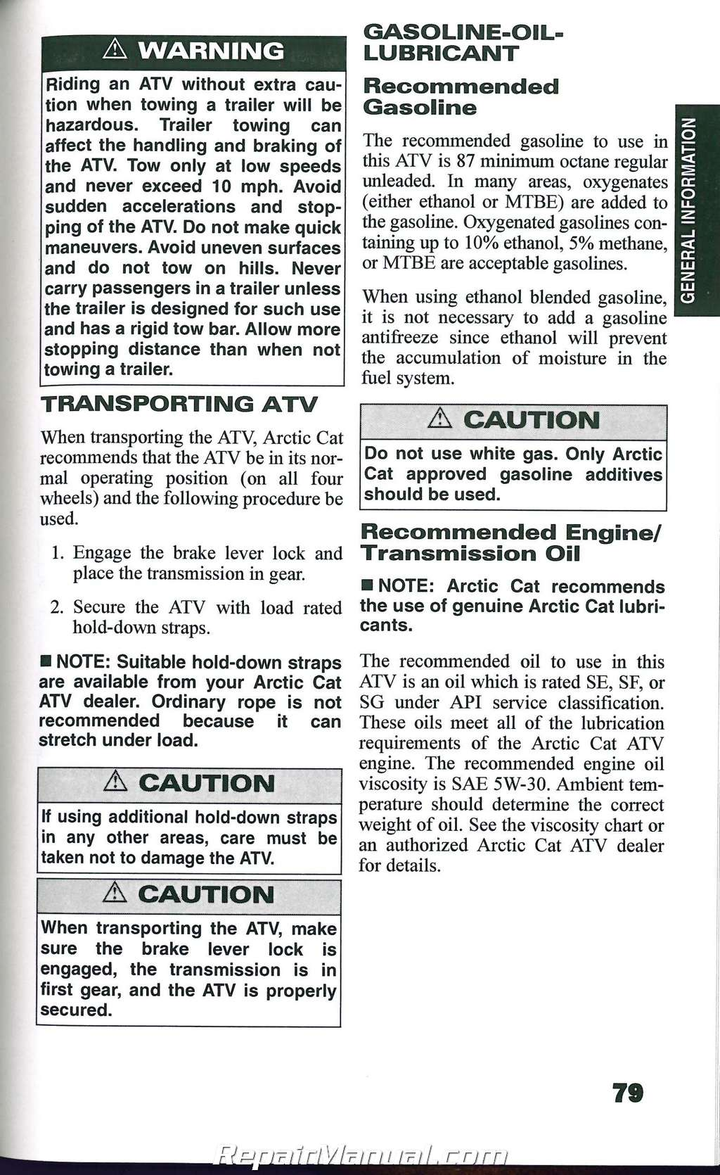 2008 Arctic Cat ATV 400 500 650 700 Owners Manual
