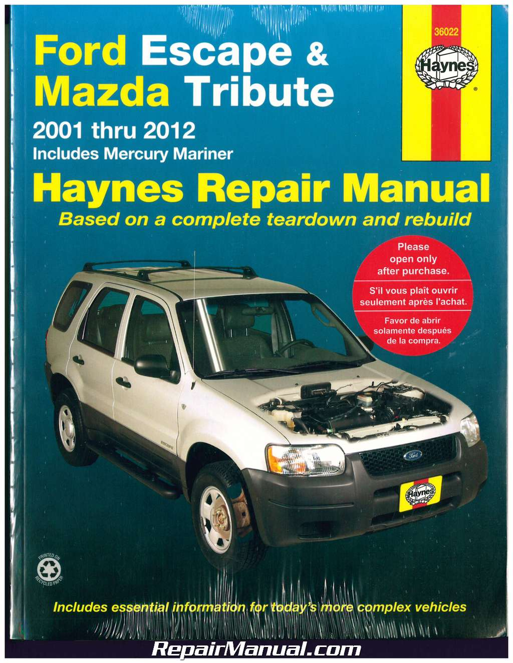 haynes ford escape and mazda tribute 2001 2012 repair manual rh repairmanual com owners manual mazda tribute 2005 owners manual mazda tribute 2002