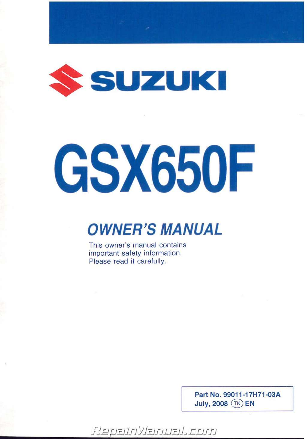 2009 suzuki gsx650f motorcycle owners manual rh repairmanual com suzuki owners manuals free download suzuki owners manual lt-a450x