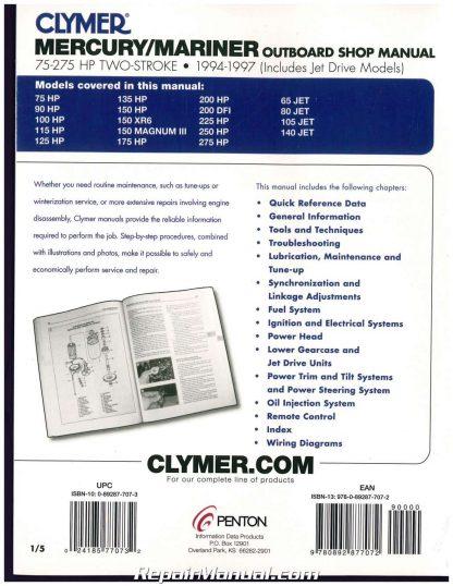 1994-1997 Mercury-Mariner 75-275 hp Outboard Boat Engine Repair Manual